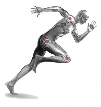 Running metal man with orthopedic implants
